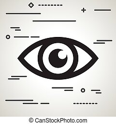 Flat Line design graphic image concept of eye icon on a grey bac