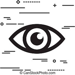Flat Line design graphic image concept of eye icon on a white ba