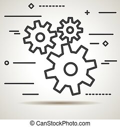 Flat Line design graphic image concept of gears icon on a white