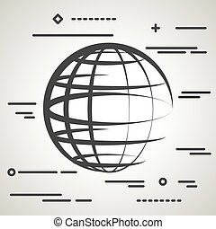 Flat Line design graphic image concept of globe planet icon on a