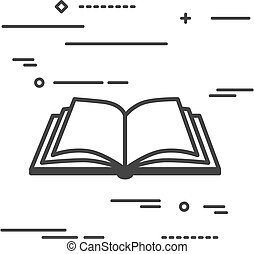 Flat Line design graphic image concept of open book icon on a wh