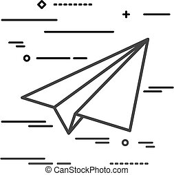 Flat Line design graphic image concept of paper plane icon on a