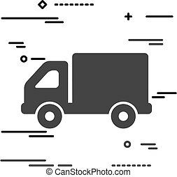 Flat Line design graphic image concept of truck icon on a white