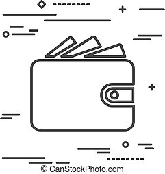 Flat Line design graphic image concept of wallet icon on a white
