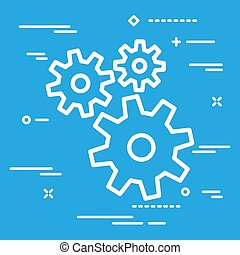 Flat Line design graphic image concept of white gears icon on a
