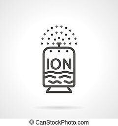 Flat line design ionizer vector icon - Black flat line...