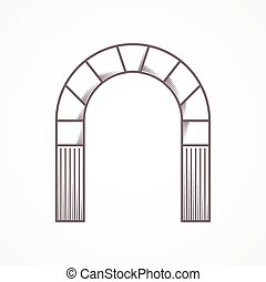 Flat line vintage design vector icon for round arch on gray background.