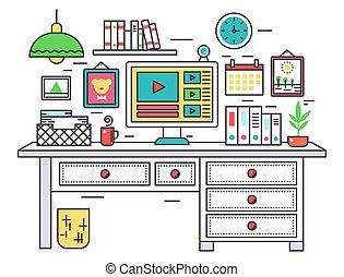 Flat line design workplace desk, creative office room interior, desktop computer on digital artist work place. Vector illustration.