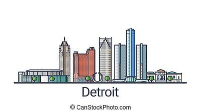 Flat line Detroit banner - Banner of Detroit city in flat...