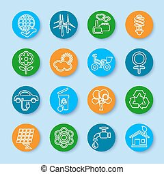 Flat line ecology icons set