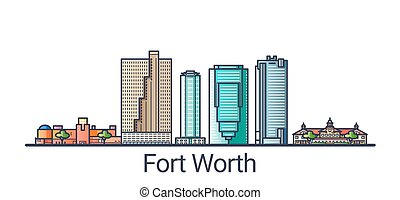 Banner of Fort Worth city in flat line trendy style. Fort Worth city line art. All buildings separated and customizable.