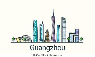 Flat line Guangzhou banner