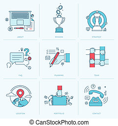 Flat line icons for business
