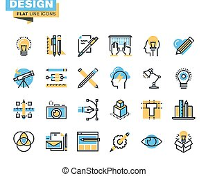 Flat line icons for design