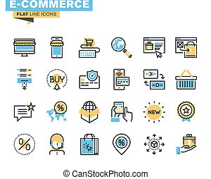 Flat line icons for e-commerce
