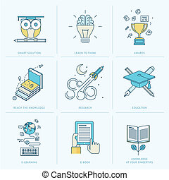Flat line icons for education - Set of flat line icons for ...