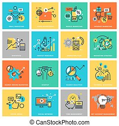 Flat line icons for marketing