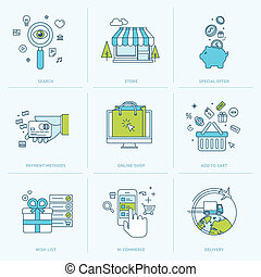 Set of flat line icons for online shopping. Icons for m-commerce, e-commerce, online shop, payment methods, delivery, internet marketing.