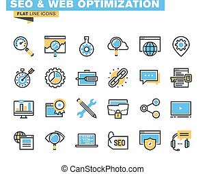 Flat line icons for SEO