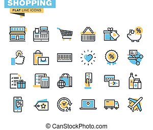 Flat line icons for shopping