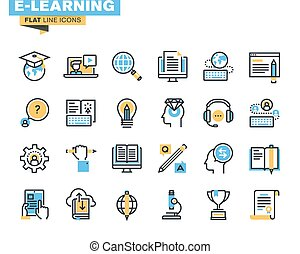 Flat line icons of e-learning