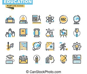Flat line icons of education