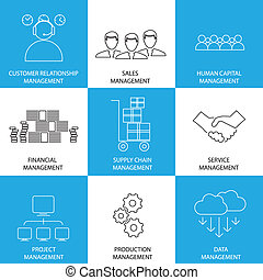 flat line icons of management of finance, sales, service - ...