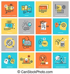 Flat line icons of online education