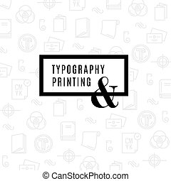 Flat line icons of Print design process, from color selection and coloring test to color printing, printing on t-shirts and print corporate identity pattern