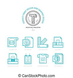 Flat line icons of Print design process, from color selection and coloring test to color printing