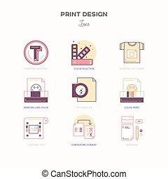 Flat line icons of Print design process. Print corporate identity.