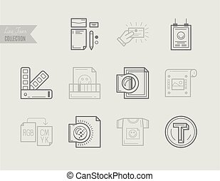 Flat line icons of Print design process, print corporate identity.