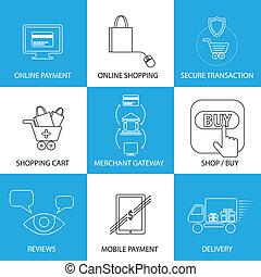 flat line icons on shopping, e-commerce, m-commerce -...