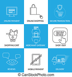 flat line icons on shopping, e-commerce, m-commerce -...