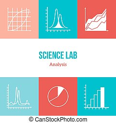 Flat line icons set of chemistry symbols and objects. Data...
