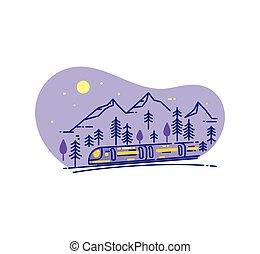 Flat line illustration with wild landscape and train.