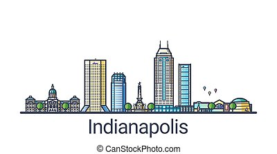 Flat line Indianapolis banner - Banner of Indianapolis city ...