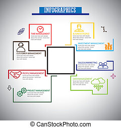 flat line infographics icons set of management - concept vector. This also represents management icons of management of banking, people, project, marketing, data, finance, sales, service, customer