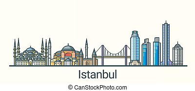 Flat line Istanbul banner - Banner of Istanbul city in flat...