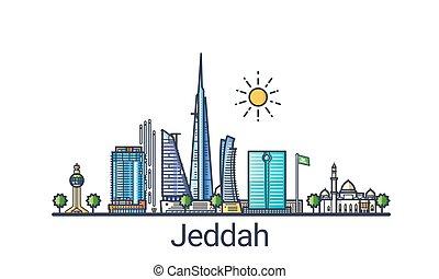 Flat line Jeddah banner - Banner of Jeddah city in flat line...