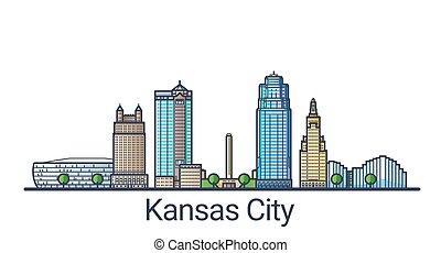 Flat line Kansas City banner - Banner of Kansas city in flat...