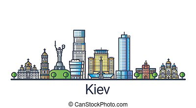 Banner of Kiev city in flat line trendy style. Kiev city line art. All buildings separated and customizable.