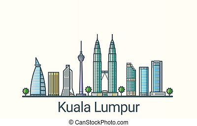 Flat line Kuala Lumpur banner - Banner of Kuala Lumpur in...