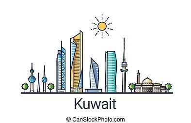 Flat line Kuwait banner