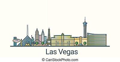Flat line Las Vegas banner - Banner of Las Vegas city in...