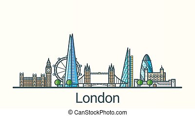 Banner of London city in flat line trendy style. All buildings separated and customizible. Line art.