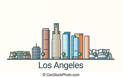 Flat line Los Angeles banner - Banner of Los Angeles city in...