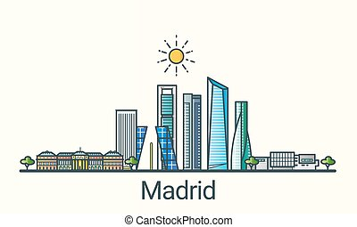 Flat line Madrid banner - Banner of Madrid city in flat line...