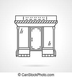 Flat line mall facade vector icon