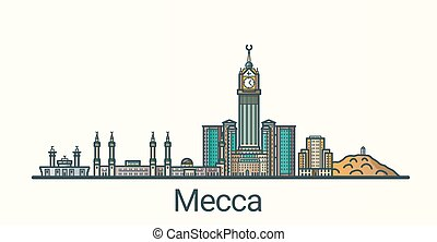 Flat line Mecca banner - Banner of Mecca in flat line trendy...